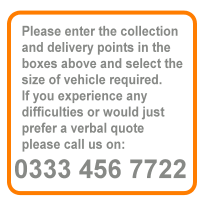 Please enter the collection and delivery points in the boxes above and select the size of vehicle 